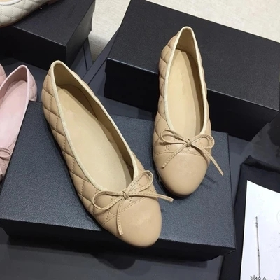 designer original  mixted color flats women shoes fashional genuine really leather shoes  luxury brand comfortable CC shoes