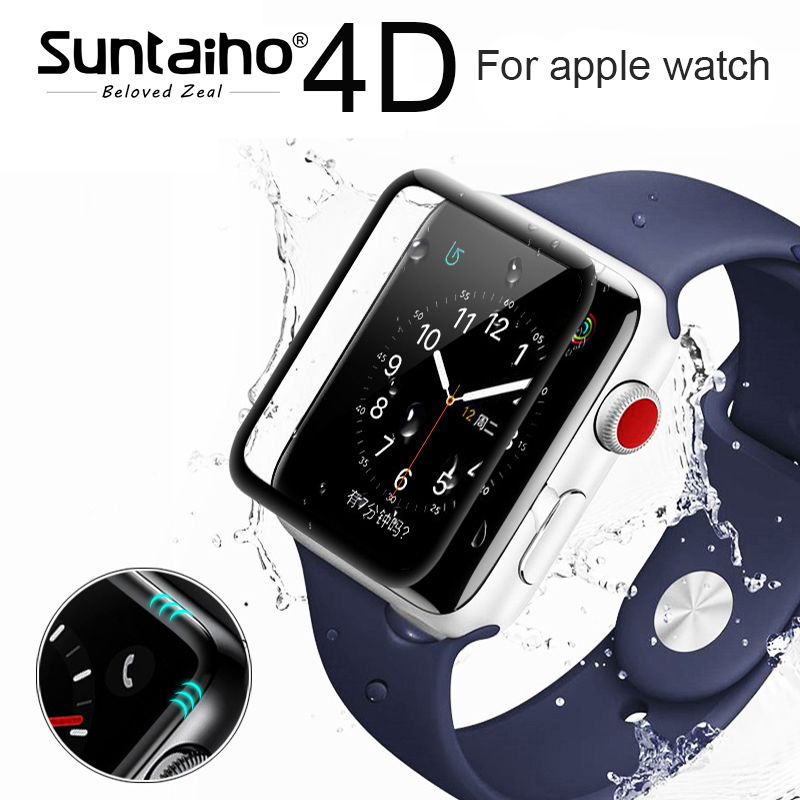 Suntaiho 4D/3D curved surface 9H Tempered film For Apple watch 38mm 42 mm Screen Protector for Apple Series watch 1/2/3 Film