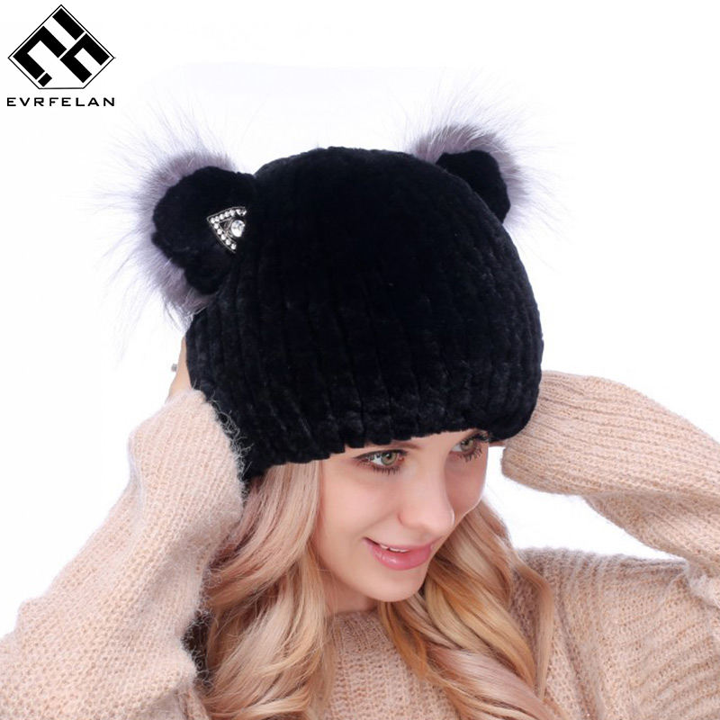 Evrfelan Fashion Rabbit Fur Hats For Women Thick Cotton Fur Winter Beanies Skullies Russian Women Hat Beanies Dropshipping
