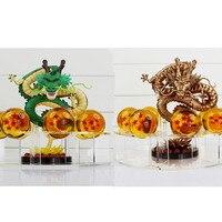 2 style Dragon Ball Z Shenron Shenlong PVC Action Figures Zabawki Złoty Zielony Smok 7 Sztuk Kryształowe Kule I Półki wielki Dar