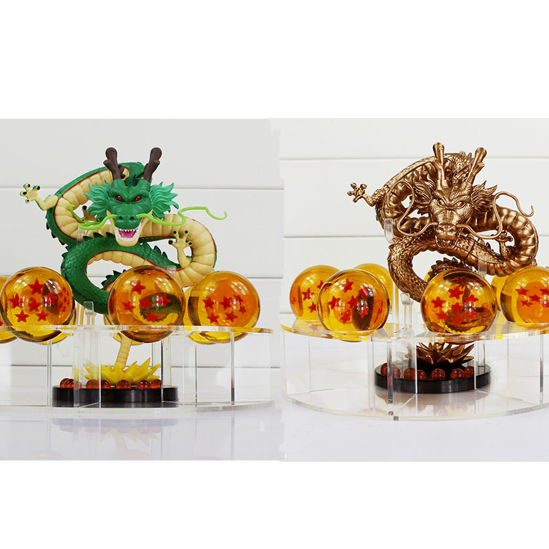 2style Dragon Ball Z Shenron Shenlong PVC Action Figures Toys Golden Green Dragon 7Pcs Crystal Balls And Shelf Great Gift 12pcs set children kids toys gift mini figures toys little pet animal cat dog lps action figures