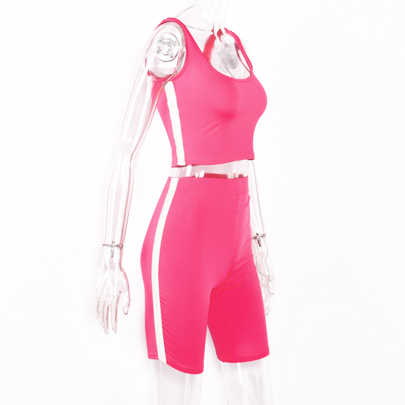 Spaghetti Straps Reflective Patchwork Shorts 2 Pieces Set 2019 Summer Women Fashion Neon Green Solid Casual Sets in Women 39 s Sets from Women 39 s Clothing