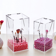 Crystal Acrylic Makeup brush Organizer cosmetic storage box Makeup tool Flashing pencil holder Lipstick Organizer cosmetic case