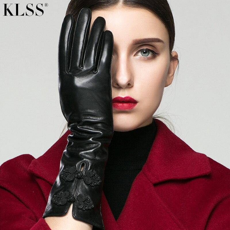 KLSS Брендовые женские перчатки из натуральной кожи в китайском стиле с пряжкой 35 см длинные перчатки из козьей кожи Модные Элегантные класси...