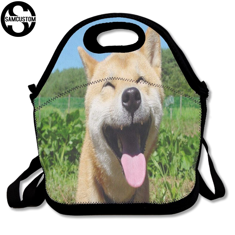 SAMCUSTOM 3D Shiba inu Spit tongue funny Lunch Bags Insulated Waterproof Food Girl Packages men and women Kids Boys Handbags