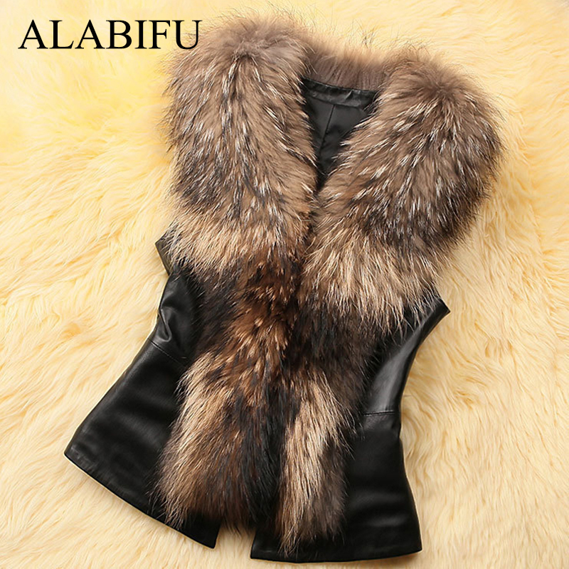 ALABIFU Women PU Leather Faux Fur Coat 2019 Casual Plus Size Sleeveless Faux Fox Fur Collar Vest Winter Jacket Coat Women 4XL