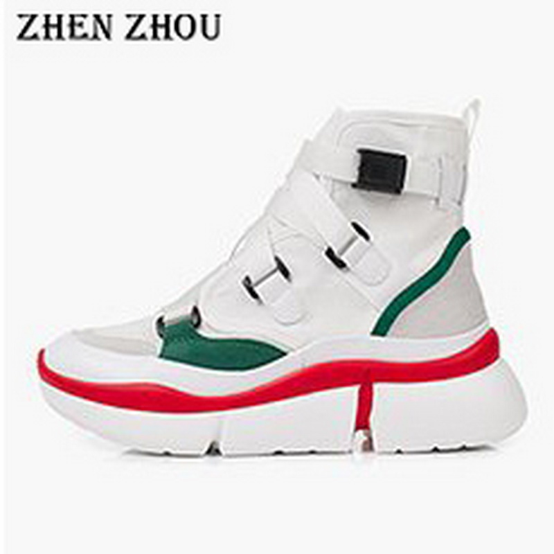 5bfb86c01f3 dad sneakers 2018 shoes slip-on high-top mixed color matching ...