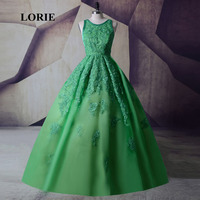 LORIE Lime Green Prom Dress Ball Gown O Neck Appliques Lace Backless Real Picture Party Dress