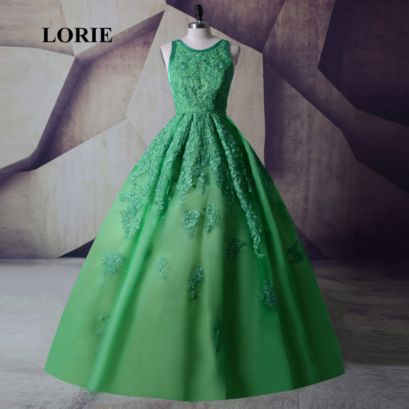 Lorie Lime Green Prom Dress Ball Gown O Neck Appliques Lace Backless