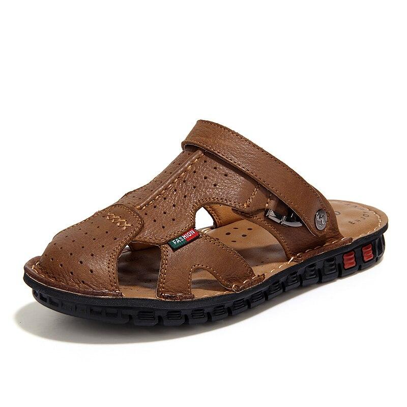 Big Size Classic Men Soft Sandals Comfortable Summer Shoes Leather Beach