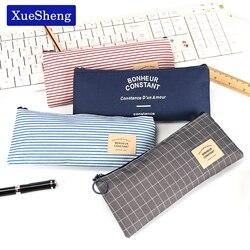 Breve estilo grade listras lona lápis saco de papelaria armazenamento lápis caso escola presente artigos de papelaria fornecimento
