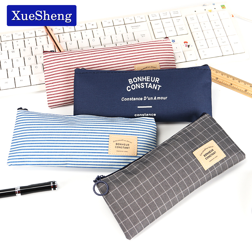 Brief Style Grid Stripes Canvas Pencil Bag Stationery Storage Pencil Case School Gift Stationery Supply