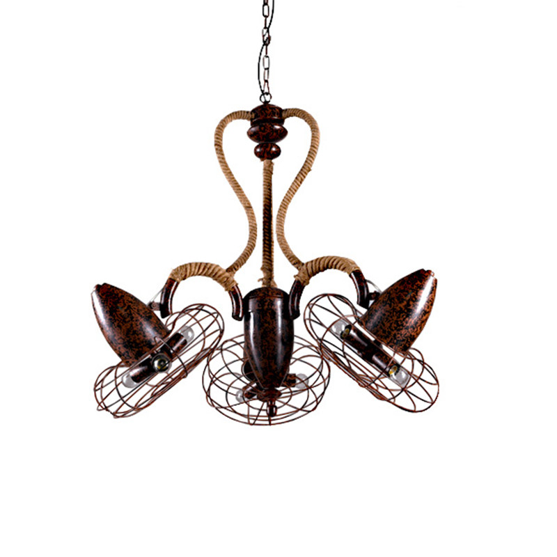 LOFT American Rusty Iron Pendant Lamp Fan Wind Industry Lamp Bar Cafe Restaurant With Old Retro Rope Pendant Indoor Lamps restaurant bar cafe pendant lights retro hone lighting lamp industrial wind black cage loft iron lanterns pendant lamps za10
