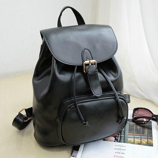 1a0e4309 2018 moda mujer mochilas de cuero escuela bolsas para adolescentes niñas  bolsa de viaje Negro Mochila Feminina en Mochilas de Maletas y bolsas en ...