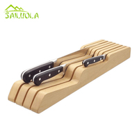 kitchen supplies import rubber solid wood knives holder knife set rack multifunctional cutting tool