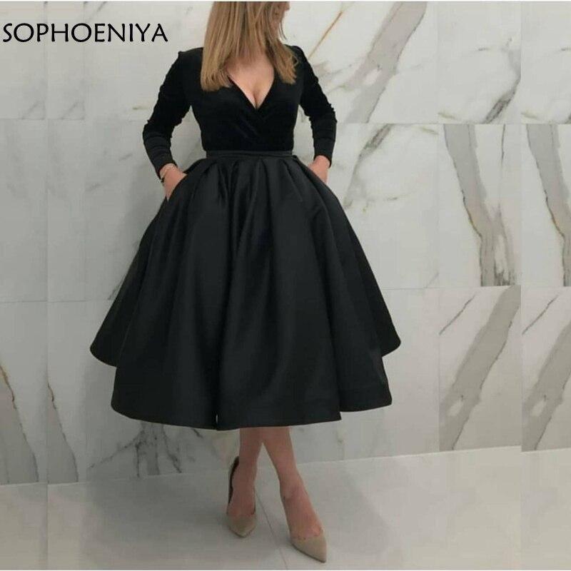 Nouveauté robe de soirée noire courte à manches longues col en V caftan en velours dubai abendkleider robes de soirée en stock