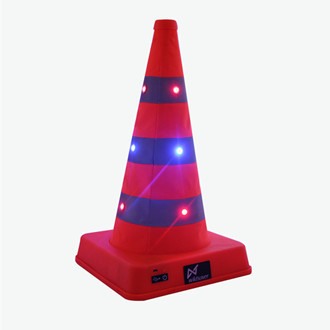 Купить с кэшбэком 41cm High Foldable Double Warning LED Safety Road Cone Barrier Expansion Ice-cream Cone Charging Reflective Traffic Cones