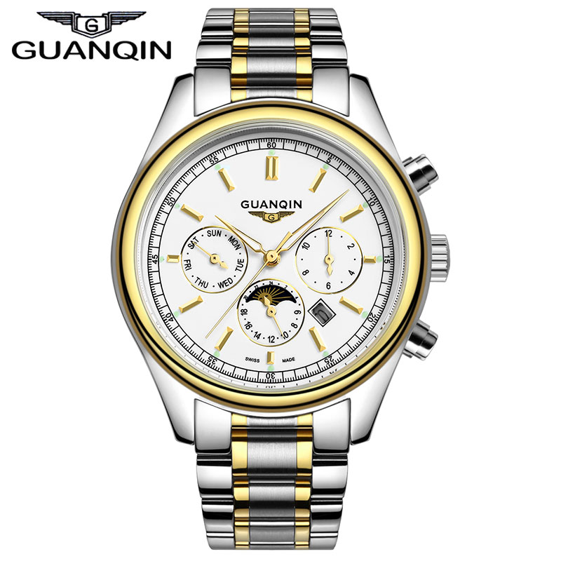 ФОТО Luxury Brand GUANQIN 2016 New Fashion & Casual watch Full Stainless Steel Multifunctional Men Quartz Watch Men's business clock