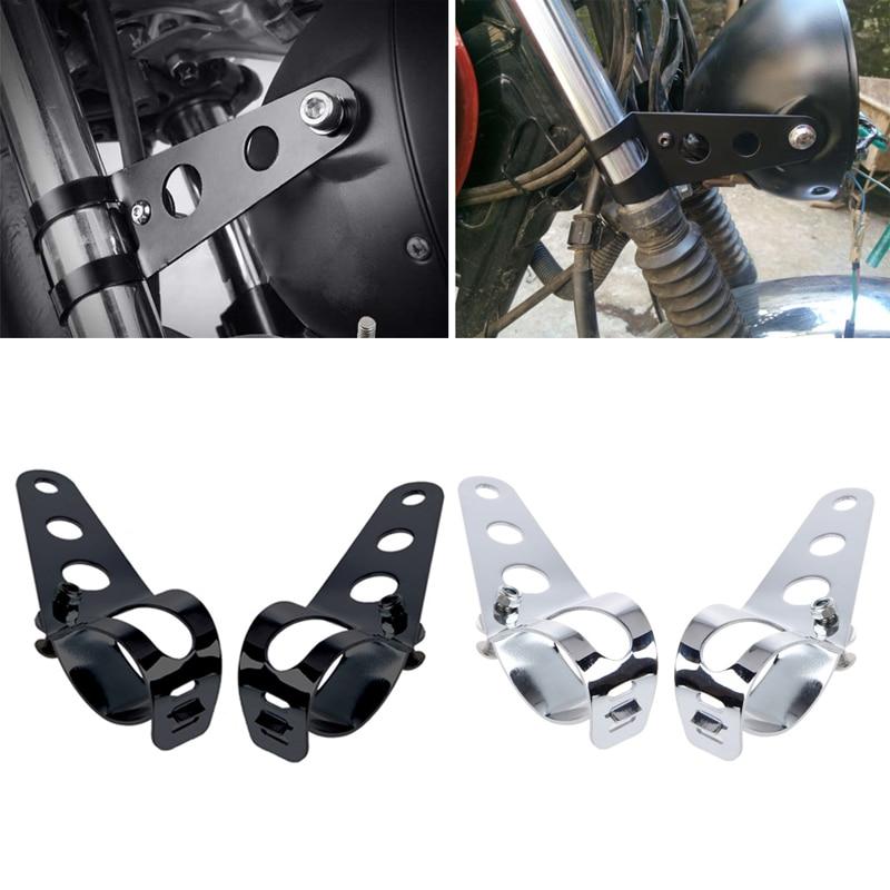 2 Pcs Universal 33-45mm Motorcycle Headlight Mount Bracket Fork Ears For Bobber Cafe Racer High Quality Sliver 10166