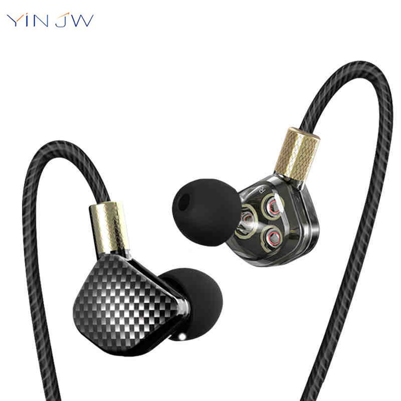 YINJW P8 6 Dynamic Driver HIFI Earphone Subwoofer Stereo Rock Metal Music Sports In-Ear Earphone Earbuds original senfer dt2 ie800 dynamic with 2ba hybrid drive in ear earphone ceramic hifi earphone earbuds with mmcx interface