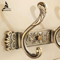 Free Shipping Bathroom Wall Carving Antique Robe Hooks Brass Row Hook Coat Hanger Door Hooks For