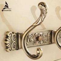 Free Shipping Bathroom Wall Carving Antique Robe Hooks Brass Row Hook Coat Hanger Door Hooks For