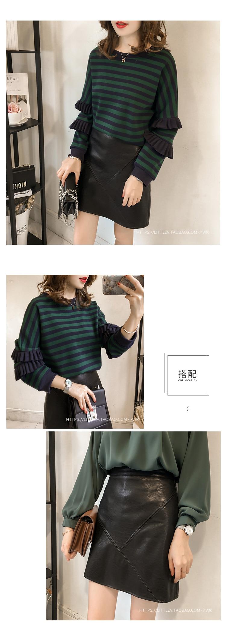 M-4xl Striped Sweatshirt Pullovers Women Plus Size Spring Autumn Ruffles Long Sleeve Tops Casual Harajuku Feminino White Green 16