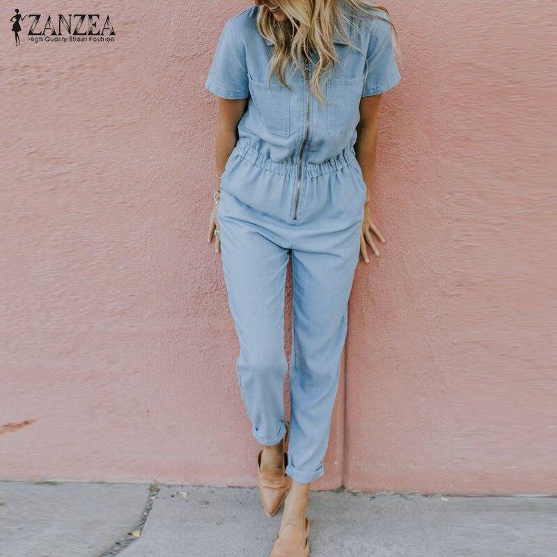 Fashion Women Denim Blue Jumpsuits ZANZEA Summer Rompers Female Lapel Neck Short Sleeve Overalls Casual Solid Pencil Pants 5XL