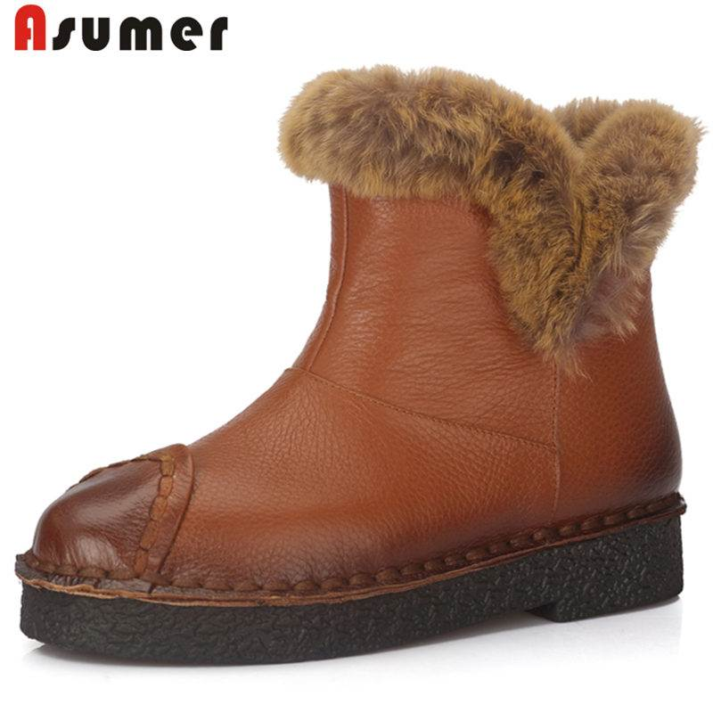 ASUMER 2018 NEW fashion slip on fur genuine leather snow boots round toe ankle boots for women flat with platform winter boots hot sale shoes women boots solid slip on soft cute women snow boots round toe flat with winter fur ankle boots