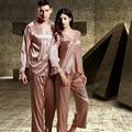 Marca de Lujo Parejas ropa de Dormir Pijamas Conjuntos Pijamas De Seda de Los Hombres Mens Faux Satén De Seda Pijamas de Las Mujeres ropa de Dormir Pijamas Batas de Regalos
