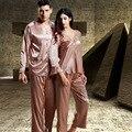 Marca de Luxo Conjuntos Pijamas dos homens Pijamas Casais Pijamas de Seda Dos Homens Do Falso Cetim De Seda Pijamas Mulheres Pijamas Pijamas Robes Presentes