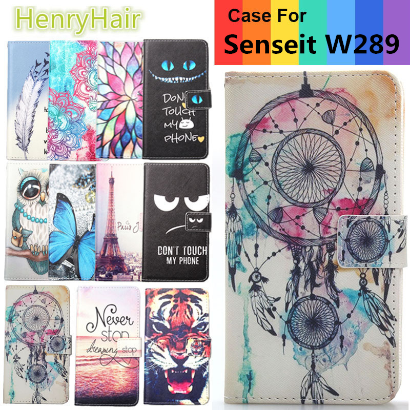 Hot! Cartoon Pattern PU Leather Cover Case Flip Card Holder Cover For Senseit W289 Wallet Phone Cases