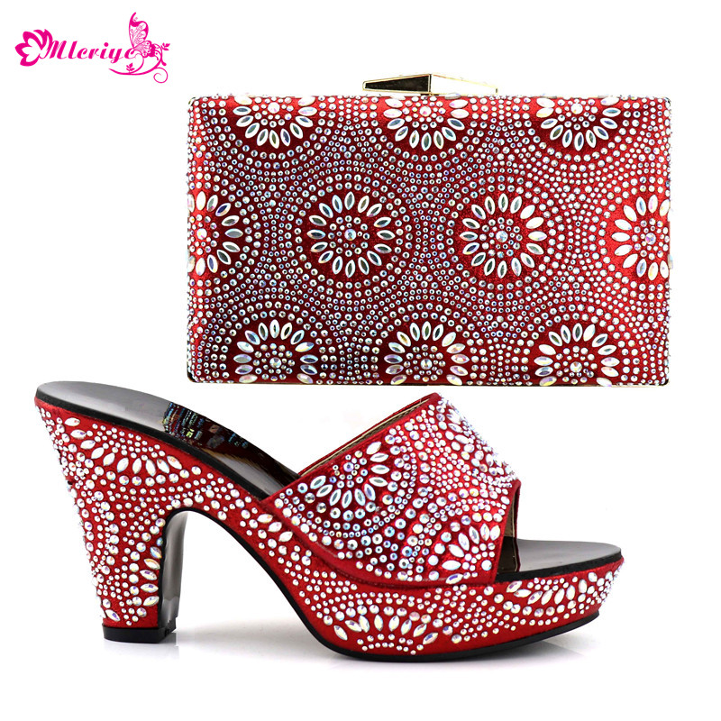 New Arrival Matching Shoes and Bag Set In Heels Nigerian Women Wedding Shoes and Bag Set Decorated with Appliques Slip on Shoes
