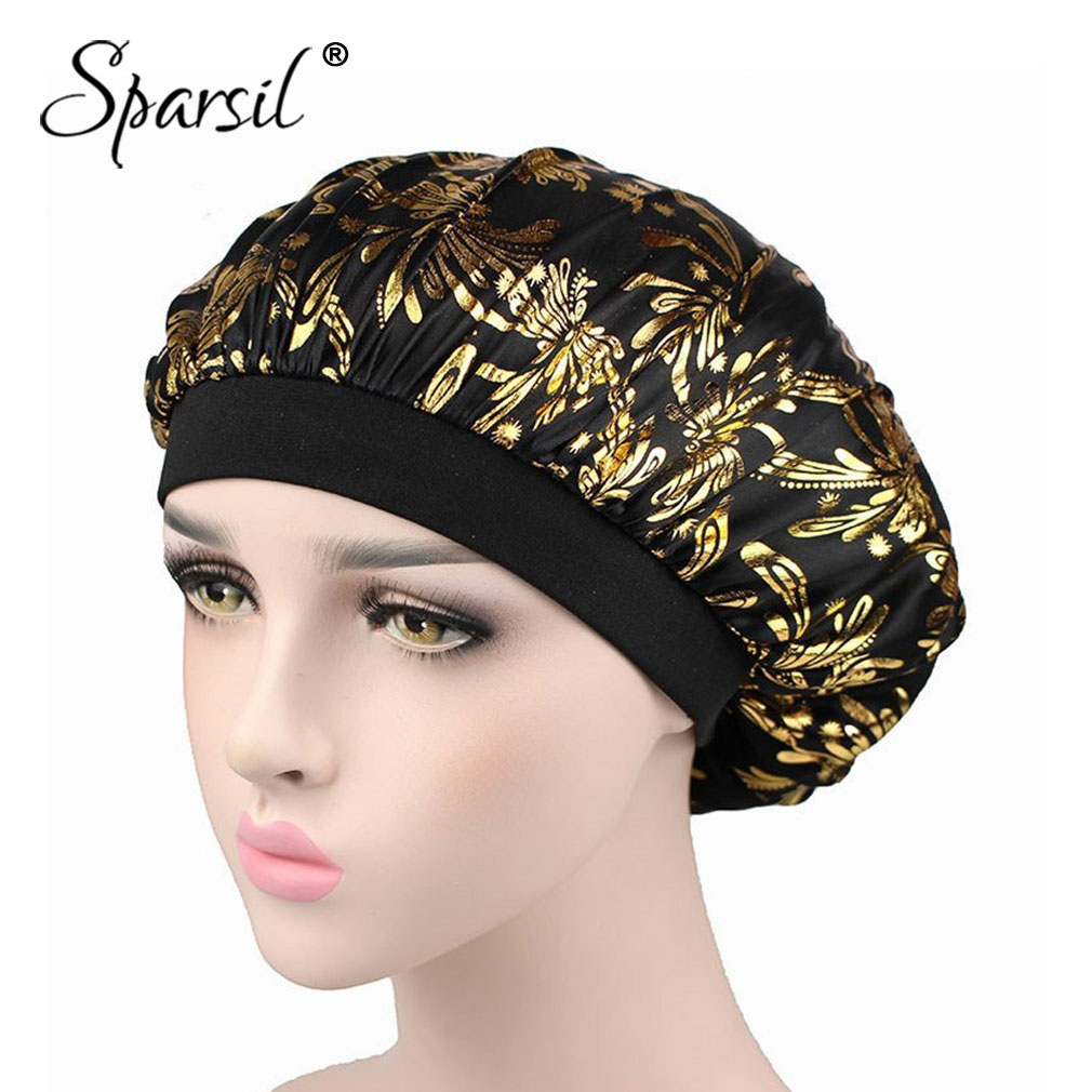Sparsil Women Hair Protect Nightcap Comfortable Fashion Wide Band Satin Bonnet Hair Cap Night Sleep Hat Cotton Elegant Design