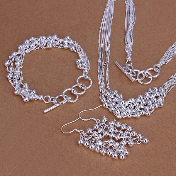925 sterling silver jewelry silver set wedding sets multi smooth balls pendant hot necklace&bracelet&earrings silver 3 set CS137