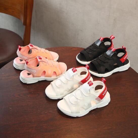 Размеры 26-36 детская обувь для маленьких мальчиков сандалии новые летние чистая Дышащие Модные сандалии для девочек Дети Спорт Повседневное...