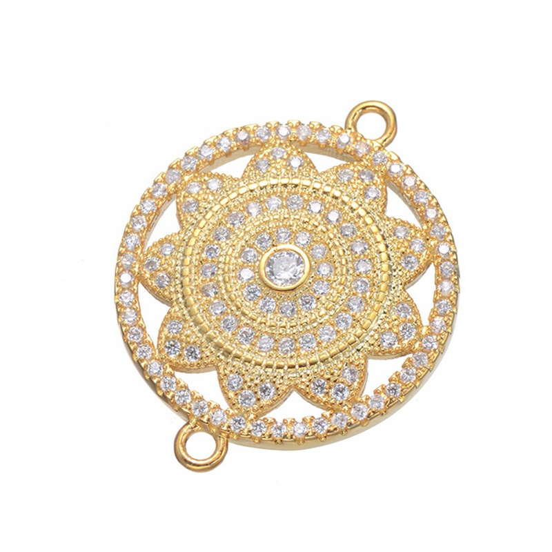 Supplies For Jewelry Wholesale HANDMADE Gold Plated Sun Flower Connector Accessories Brass Micro Pave CZ Jewelry Round Connector