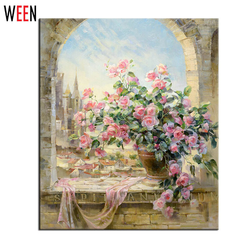 Ventana flores escena pintura por números DIY kits Wall fotos para ...