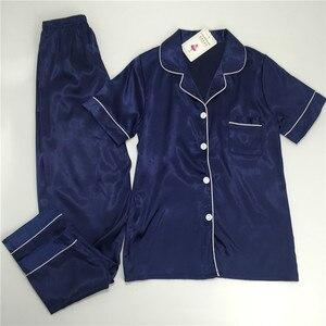 Image 5 - パジャマ女性の大サイズ M 5XL シルクパジャマポケットホーム服固体パジャマ女性のためのパジャマファムホームスーツスパースター mujer