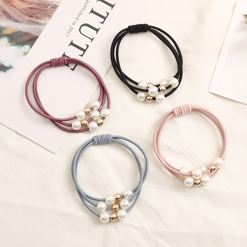 4PCS Hair Accessories Pearl Elastic Rubber Bands Ring   Headwear   Girl Elastic Hair Band Ponytail Holder Scrunchy Rope Hair Jewelry