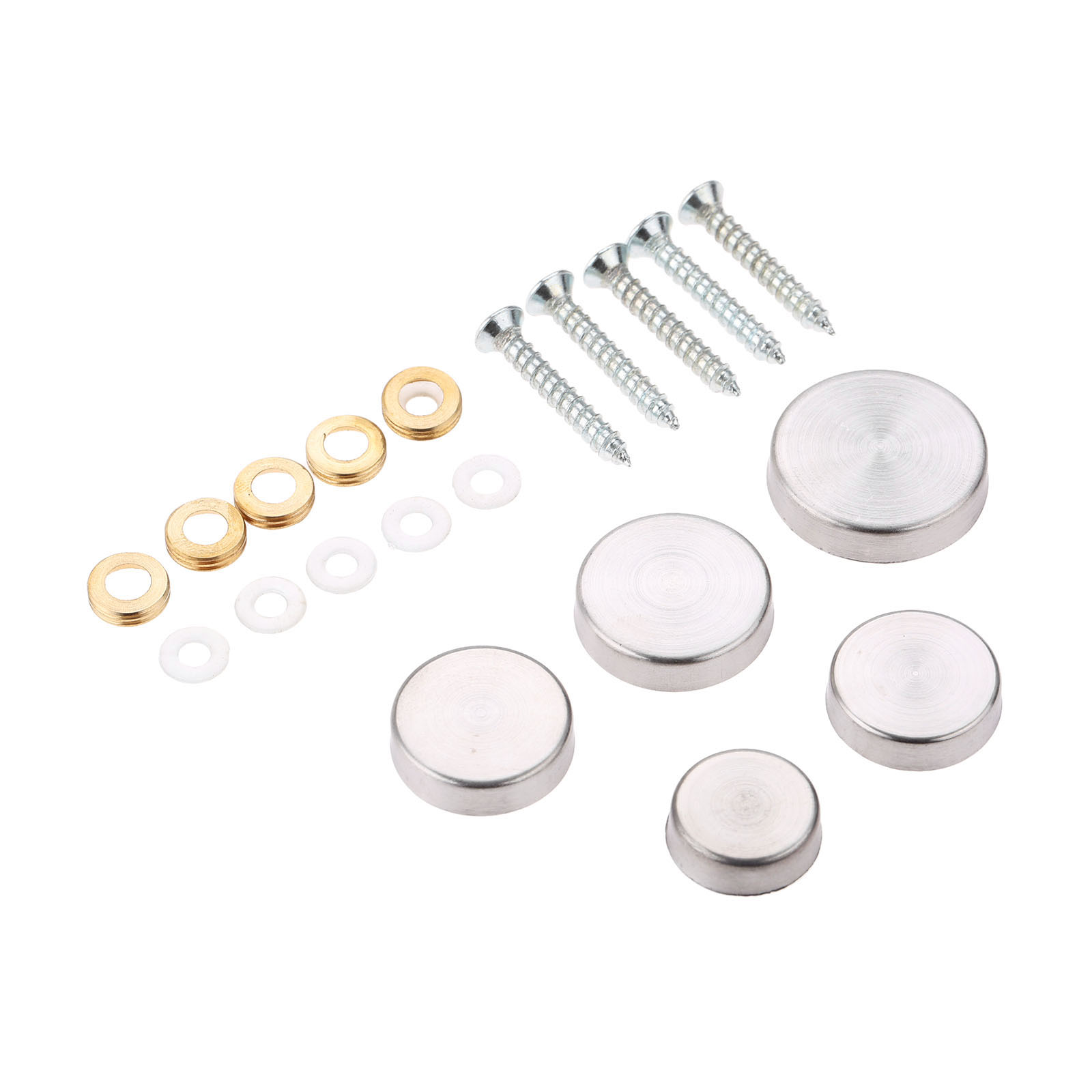 Tornillos de espejo plata 4 unidades di/ámetro de 15 mm tapones de aluminio para u/ñas decorativas de espejo