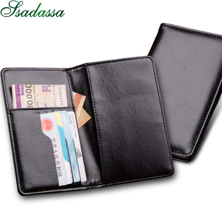 Men Women PU Leather Passport Cover Holder Wallets and Purse Business Credit Bank ID Card Case Holder Air Ticket Money Bag Male