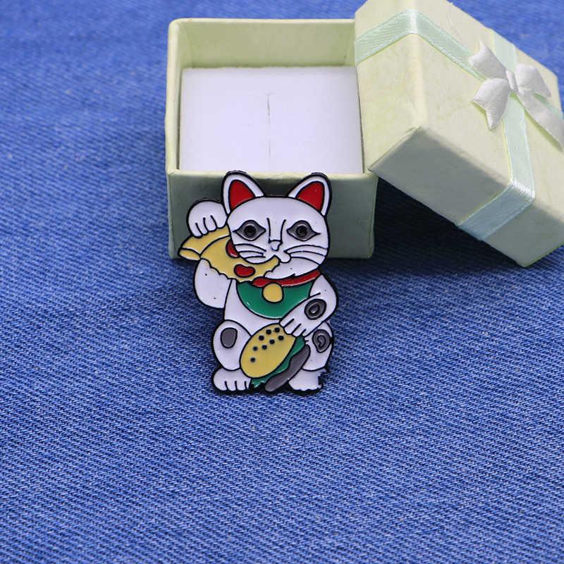 Cartoon Animals Brooches Cat Eating Pizza Enamel Pin for Boys Girls Lapel  Pin Hat/bag Pins Denim Jacket Women Brooch Badge Q407