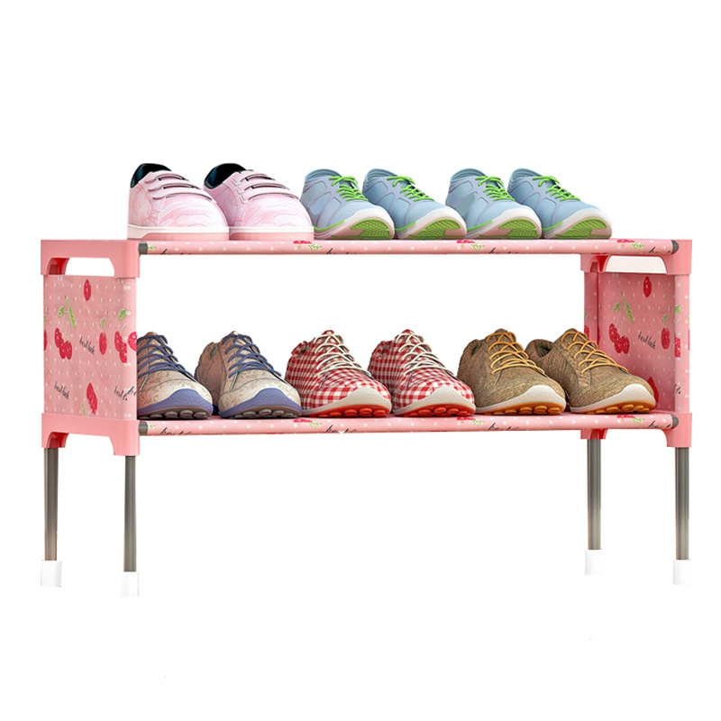 2 Layer Shoe Racks Storage Organizer Space Saving Shoe Cabinet Home Living Room Modern Furniture Shelves 3 Colors shoe rack nonwovens steel pipe 4 layers shoe cabinet easy assembled shelf storage organizer stand holder living room furniture