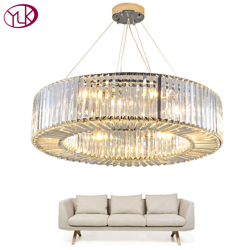 Youlaike Luxury Modern Chandelier Lighting Round Crystal Light Fixtures Living Dining Room LED Lustres De Cristal top sale luxury modern crystal chandelier for living room rectangle led lustres de cristal lamp long dining room light fixture