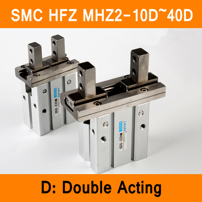 HFZ MHZ2 10D 16D 20D 25D 32D 40D Double Acting Air Gripper Pneumatic Finger Cylinder SMC Type Aluminium Clamps Bore 10-40mm mhz2 10d parallel style air gripper cylinder double acting sns pneumatic parts finger air claw