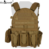 SINAIRSOFT Tactical Vest Airsoft Outdoor Hunting Assault CS Military Army Molle dump Combat Magazine Pouch body vest LY1807