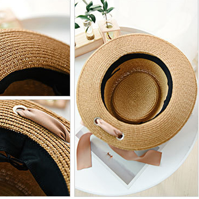 Ymsaid New Summer Sun Hats Women Fashion Girl Straw Hat  Ribbon Bow Beach Hat Casual Straw Flat Top Panama Hat Bone Feminino 5