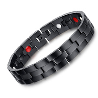 Good Quality Healing FIR Magnetic Titanium Bio Energy Bracelets Bangles 22cm Width Black Therapy Bracelet Male