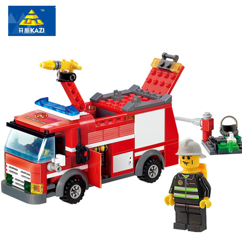 KAZI 8054 Fire Truck Building Blocks Set Model 206+pcs Enlighten Educational DIY Construction Bricks Toys For Children kazi 608pcs pirates armada flagship building blocks brinquedos caribbean warship sets the black pearl compatible with bricks